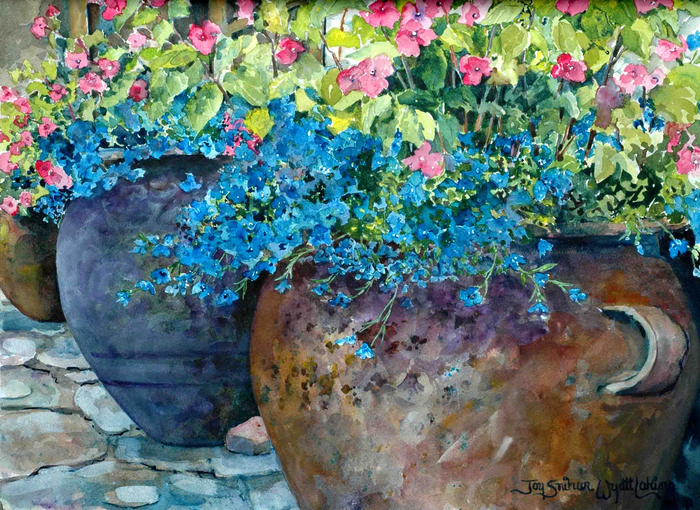Pots with pink and blue flowers joy laking gallery pots with pink and blue flowers izmirmasajfo